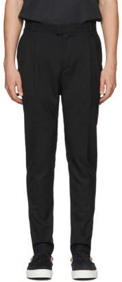 Diet Butcher Slim Skin Black Tapered Two Tacks Trousers