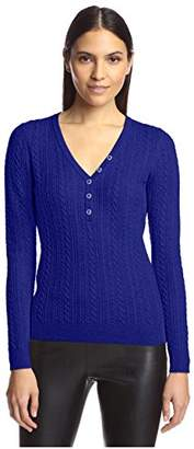 Society New York Women's Cable Henley Sweater