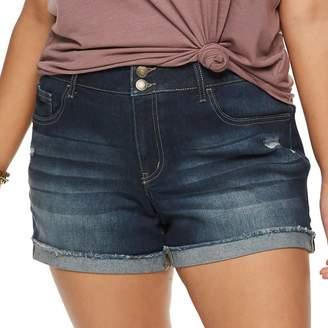 So Juniors' Plus Size SO Frayed Cuff Midi Jean Shorts