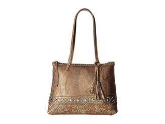 American West Guns And Roses Zip Top Tote w/ Secret Compartment