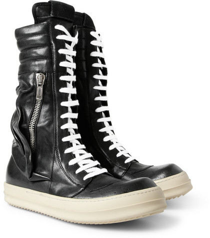 Rick Owens Cargo Basket Leather Boots
