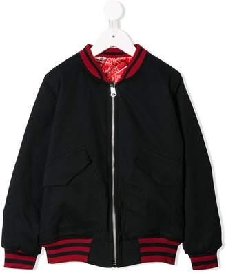 Les Bohemiens Kids stripe-trim bomber jacket