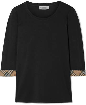 Burberry Checked Canvas-trimmed Stretch-cotton Jersey Top - Black