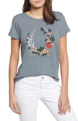 Lucky Brand Floral Embroidery Tee