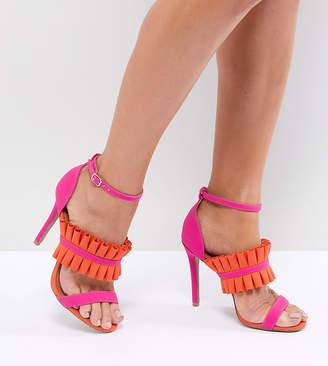 Qupid Fray Detail Heeled Sandals