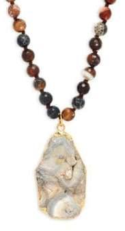 Beaded Druzy Pendant Necklace