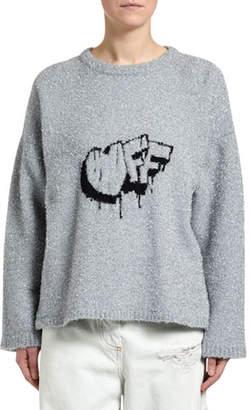 Off-White Fuzzy Logo-Intarsia Crewneck Sweater
