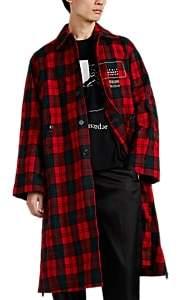 """Undercover Men's """"Logic Memory Center"""" Plaid Crinkled Wool Coat - Red"""