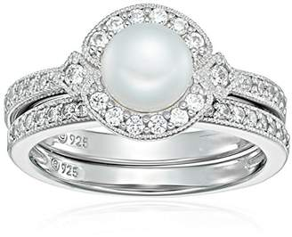 Swarovski Platinum Plated Sterling Silver Zirconia Cultured Freshwater Pearl Milgrain Bridal Ring Set