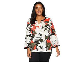Calvin Klein Plus Plus Size Printed Long Sleeve w/ Piping Hardware