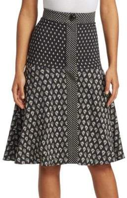 Proenza Schouler Printed Silk A-Line Skirt