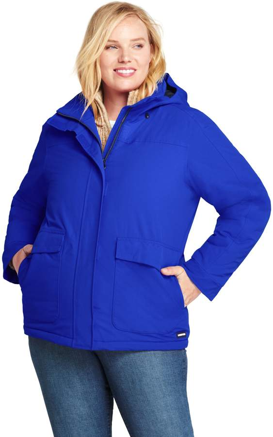 Lands'end Women's Plus Size Hooded Squall Winter Jacket