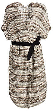 Brunello Cucinelli Women's Paillette Knit Belted Long Cardigan