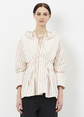 Jacquemus off white/ red striped la chemise arlesienne $505 thestylecure.com