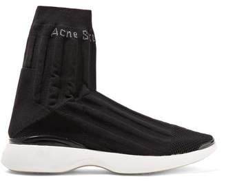 Acne Studios Batilda Mesh-trimmed Stretch-knit Sneakers - Black
