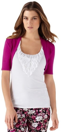 White House Black Market Very Berry Elbow Sleeve Shrug