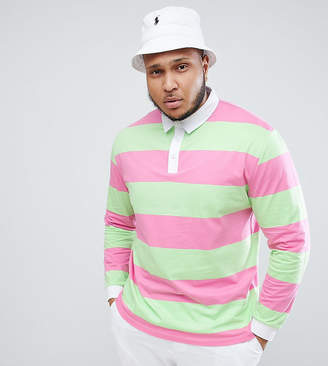 Asos Design DESIGN Plus relaxed long sleeve rugby polo with bright stripe