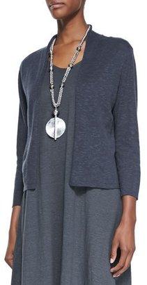 Eileen Fisher 3/4-Sleeve Slub Cropped Cardigan, Graphite $168 thestylecure.com