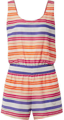 Stella McCartney Striped Cotton And Silk-blend Voile Playsuit - Orange