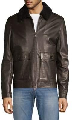 HUGO BOSS Graven Shearling-Collar Leather Jacket