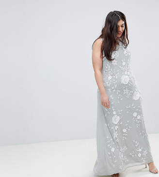 Frock And Frill Plus Premium All Over Embellished High Neck Trophy Maxi Dress