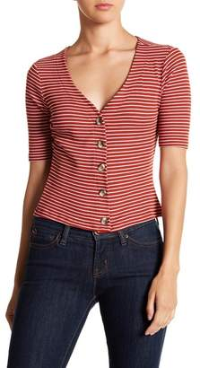 Socialite Button Front Striped Henley Top