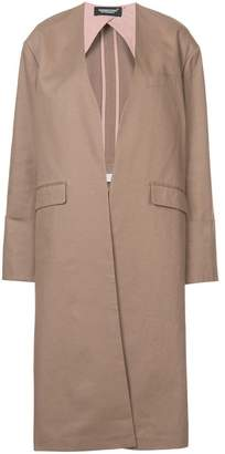 Undercover mid-length collarless coat