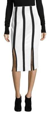 Diane von Furstenberg High-Waist Striped Sequin Pencil Skirt