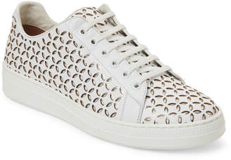 Alaia White Laser Cut Leather Low-Top Sneakers