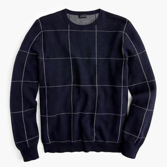 J.Crew Cotton-cashmere bird's-eye crew neck sweater in windowpane