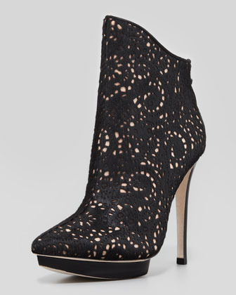 Alice + Olivia Denby Laser Cut Calf Hair Bootie