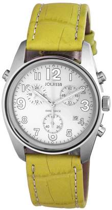 Jowissa Women's J7.015.L Ginebra Stainless Steel Green Genuine Leather Band Chronograph Alarm Date Watch