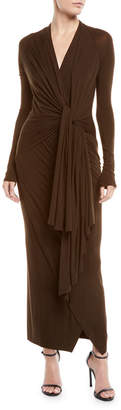 Urban Zen Transformer Tie-Front Long-Sleeve Stretch-Jersey Long Dress