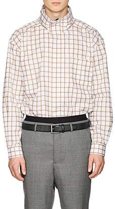 Martine Rose Men's Checked Cotton Oversized Funnel-Neck Shirt