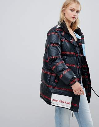 Calvin Klein Jeans padded jacket with multi logo