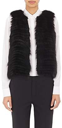 J. Mendel Women's Sequined-Back Fur Vest - Black