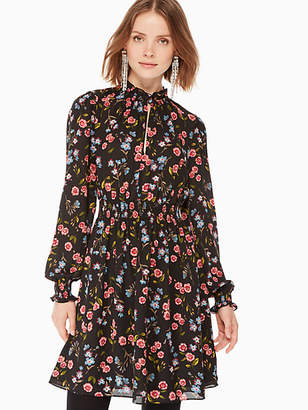 Kate Spade Meadow Smock Waist Dress, Black - Size XXS