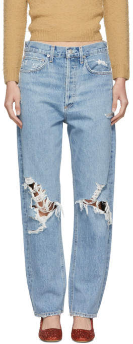 Agolde Blue 90s Mid Rise Loose Fit Jeans