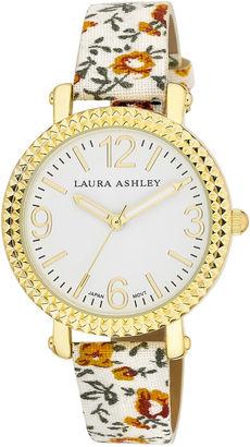 Laura Ashley Ladies White Floral Band Fluted Bezel Watch La31005Wt $295 thestylecure.com