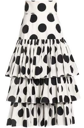 Dolce & Gabbana Tiered Polka-Dot Cotton Midi Skirt
