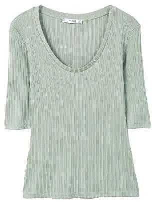 MANGO Textured striped t-shirt