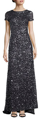 Adrianna Papell Sequined Scoop-Back Gown $280 thestylecure.com