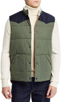 Faherty Men's Western Snap-Front Vest