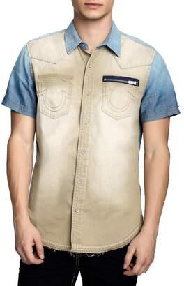 True Religion Short Sleeve Denim Novelty Western Slim Fit Shirt