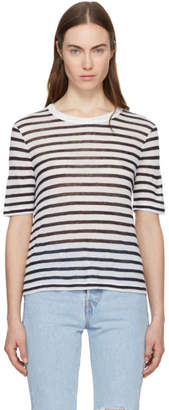 Alexander Wang Ivory and Navy Striped Cropped T-Shirt