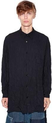 Yohji Yamamoto Printed Back Wrinkled Twill Long Shirt