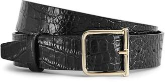 Reiss BILLY LEATHER CROCODILE PATTERNED BELT Black