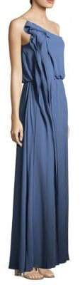 BCBGMAXAZRIA Drape Column One-Shoulder Gown