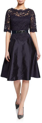Rickie Freeman For Teri Jon Bateau-Neck Short-Sleeve Gazar A-Line Dress w/ Lace Overlay