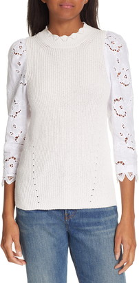 Rebecca Taylor Mix Media Eyelet Sleeve Cotton Sweater